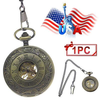 1pc Vintage Roman Numerals Dial Skeleton Automatic Mechanical Pocket Watch Chain