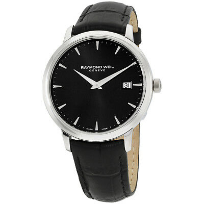 Raymond Weil Tocatta Black Dial Leather Strap Mens Watch 5488Stc20001