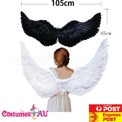 105cm X 45cm Feather Wings White Angel Fairy Black Devil Wing Halloween Costume (Devil Wings Halloween Costume)