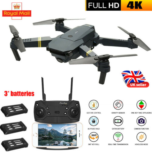Drone X Pro WIFI FPV 4K HD Camera 3 Batteries Foldable Selfie 2.4G RC Quadcopter