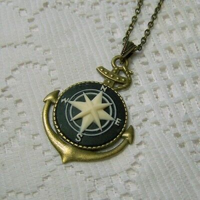 COMPASS ROSE CAMEO PENDANT NECKLACE - NAUTICAL ANCHOR & COMPASS ROSE - NAVY (Nautical Necklace)