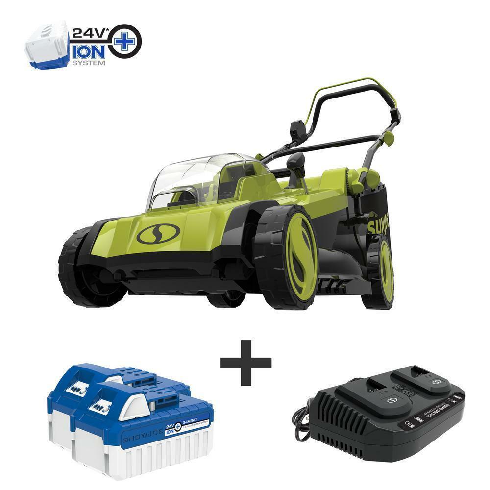 Cordless Electric Walk Behind Push Lawn Mower Kit with 2 Bat