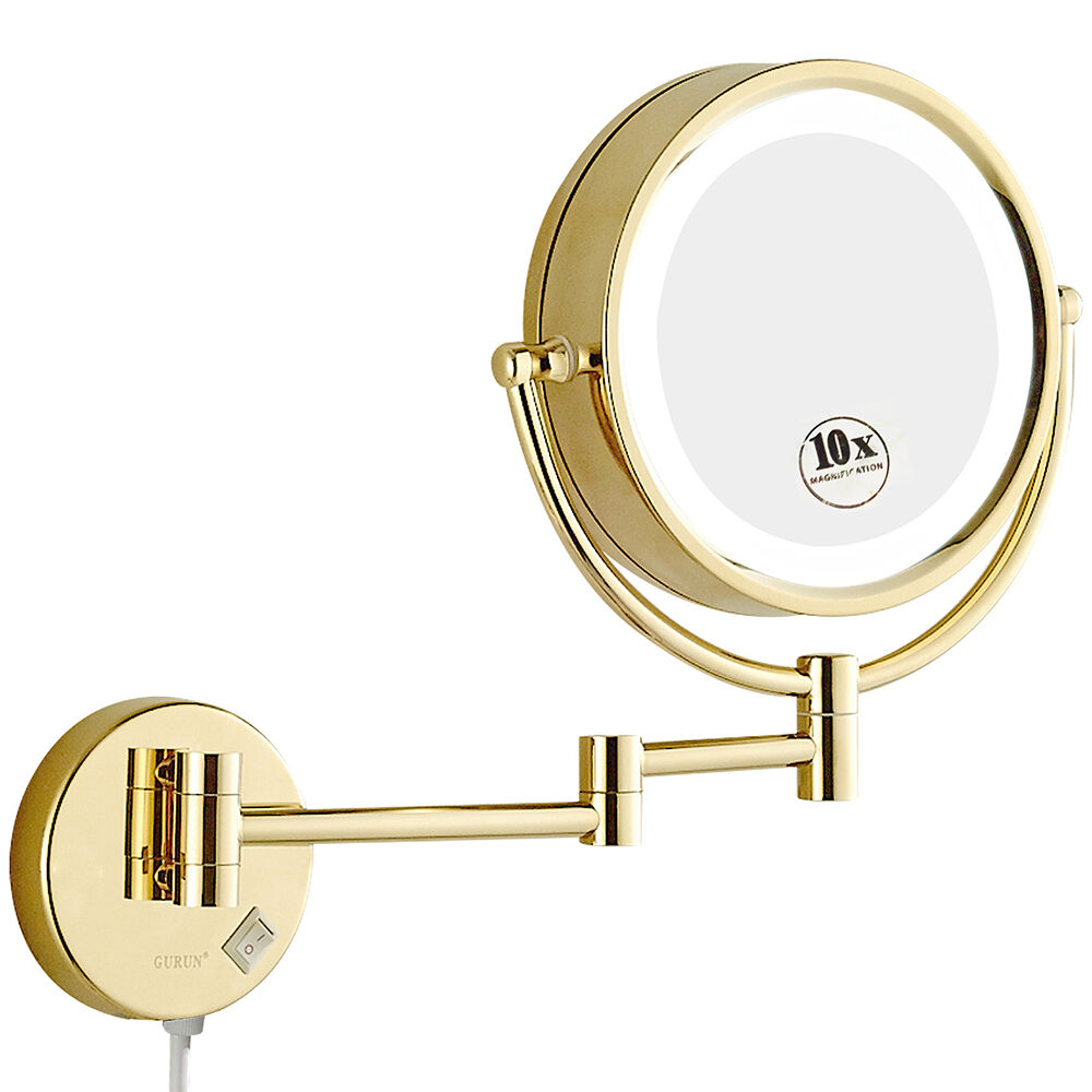 vanity lighted wall mount gold makeup mirror