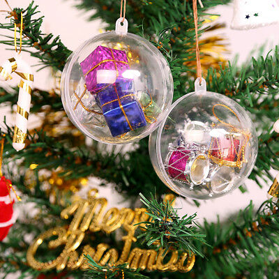 20X Clear Plastic Ball Baubles Sphere Fillable Christmas Ornament Craft Gift Box - Clear Plastic Balls