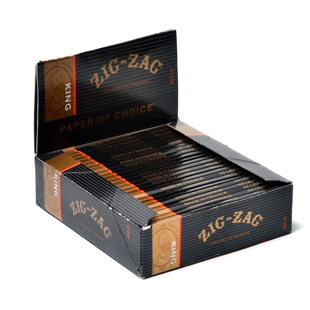 24x Packs Zig Zag Black (32 Leaves Papers Per Pack) King Size Rolling FULL BOX