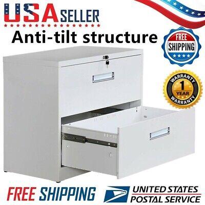 2 Drawer Lateral Filing Cabinet Storage Organizer Office Lock Design White Us