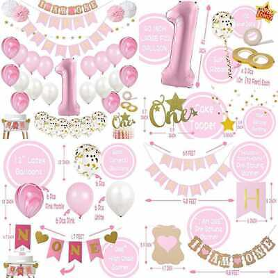 Girl Themed Party (Mayen 1St Birthday Party Decorations For Girl Mega Set PINK & GOLD Girls Theme)