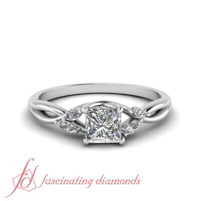 3/4 Carat Princess Cut Diamond Twisted Engagement Rings For Women GIA Certified