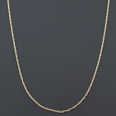 10K YELLOW, WHITE or ROSE GOLD .9mm MACHINE MADE LITE ROPE LINK PENDANT -