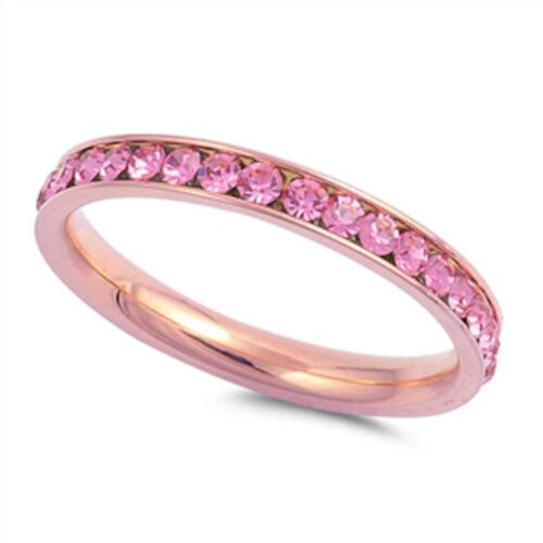 Rose Gold Pink Eternity Band Stainless Steel Ring Sizes 4-10