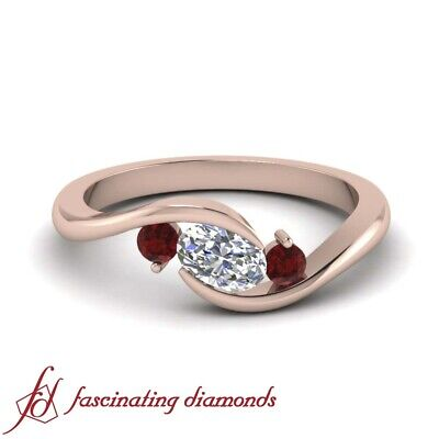 .75 Carat Oval Shape Diamond And Ruby Gemstone Rose Gold Engagement Ring 3 Stone