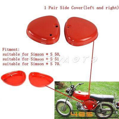 Left & Right Retro Red Steel Side Cover Box Intake Lid Fits Simson S51 S50 S70
