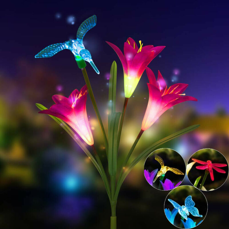 2PCS Solar Power Lily Flower LED Light Garden Stake Lamp Yard Outdoor Decor
