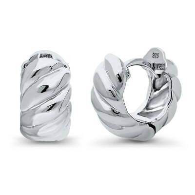 0.5' Hoop Huggie Earrings - BERRICLE Sterling Silver Cable Small Fashion Hoop Huggie Earrings 0.5