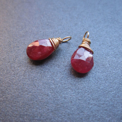 2 RUBY Natural Gemstone Wire Wrapped Drops for Interchangeable Earrings