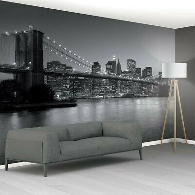 XL Black and White Brooklyn Bridge New York Mural Wallpaper 366cm x 232cm