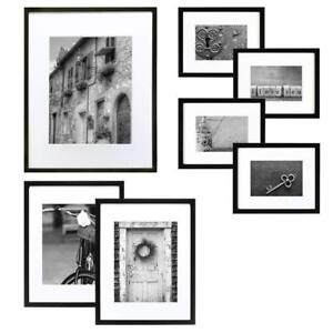 NEW GALLERY PERFECT 7 Piece Black Wood Photo Frame Wall Gallery Kit #14FW1017.