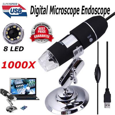 1000x 8 Led 2mp Hd Usb 2.0 Mini Digital Microscope Endoscope Camera Magnifier