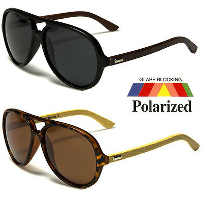 (80s Mens POLARIZED Vintage Classic Fashion Designer WOOD Aviator Sunglasses New)
