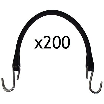 Set Of 200 Heavy Duty 15 Natural Rubber Tarp Strapsbungee Cords W S-hooks