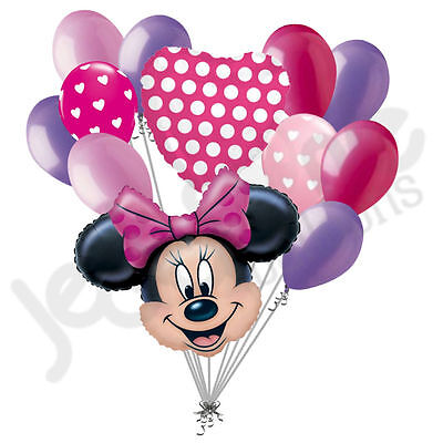 12 pc Minnie Mouse Bow-tique Inspired Balloon Bouquet Decoration Disney Birthday - Minnie Mouse Balloon Bouquet