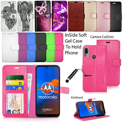 For Motorola Moto E6 Plus Case Phone Wallet Leather Flip Book Cover + Stylus