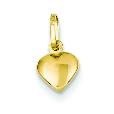 14K Yellow Gold Small Puffed Heart Charm Pendant MSRP $46