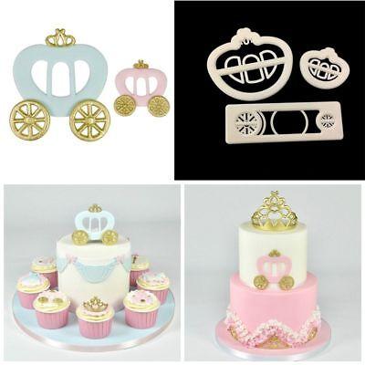 3 Pcs/set Princess Carriage Print Plunger Fondant Cake Mold Cookie Cutter