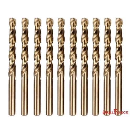 """10PCS 1/4"""" Cobalt Drill Bit Set M35 HSS Jobber Length Twist"""