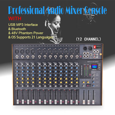 Mixing Console Professional Audio Stereo - 12 Channel Professional Stereo Mixer Audio Mixing Console Sound Console Desk
