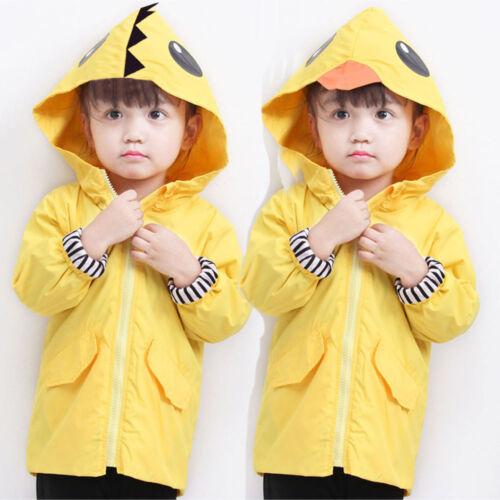 Toddler Raincoat Kids Baby Boy Girl Cartoon Animal Hooded Zipper Clothes Coat