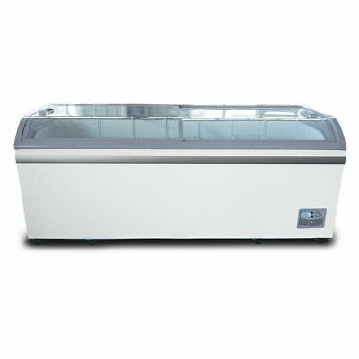 Coldline 79 Curved Glass Top Display Ice Cream Freezer With Led 6 Baskets