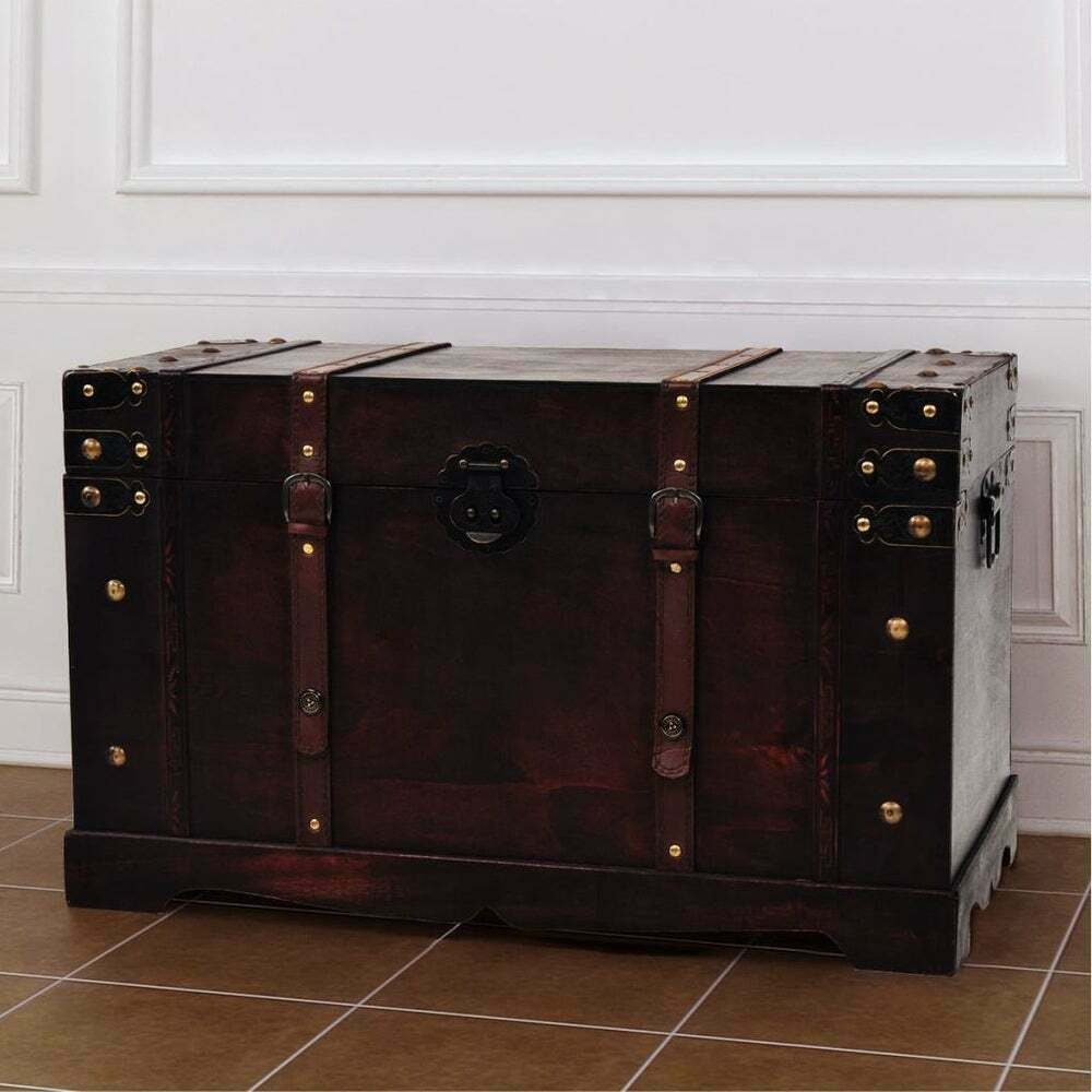 Vintage Style Wooden Treasure Box Storage Trunk Antique Ches