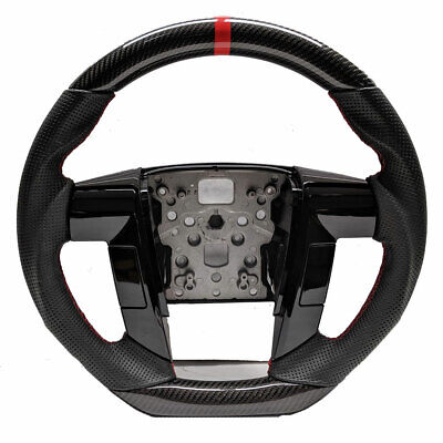 CUSTOM REAL CARBON FIBER For 2009-2014 Ford F150 Steering Wheel W/Black Leather
