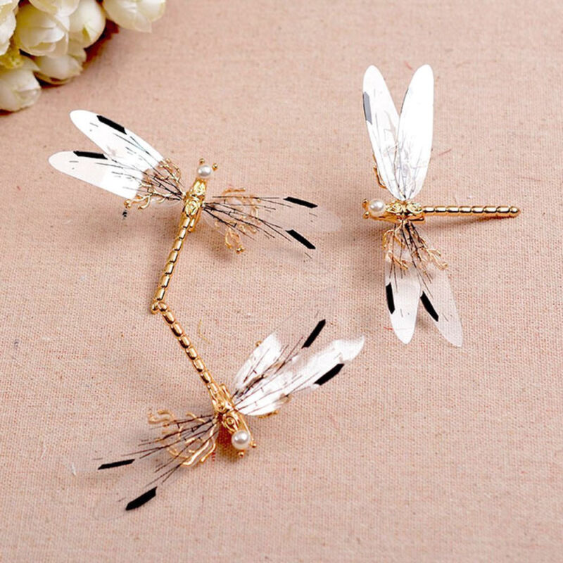Charm Dragonfly Hair Clip Pearl Bridal Headdress Gold Hairpi