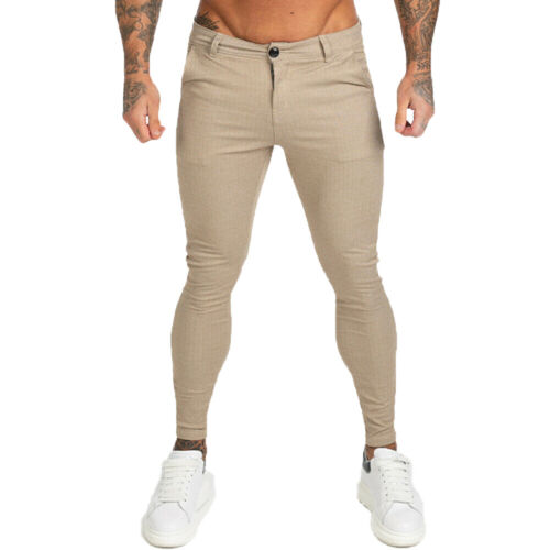 Gingtto Men Skinny Fit Stretch Chino Trousers Casual Flat Front Slim Khaki Pants