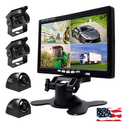 4x Car Rear View Front Side Reversing Cameras + 7
