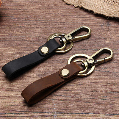 KEY CHAIN & LEATHER Belt Loop Key Holder Ring Keychain Keyring Keyfob Detachable