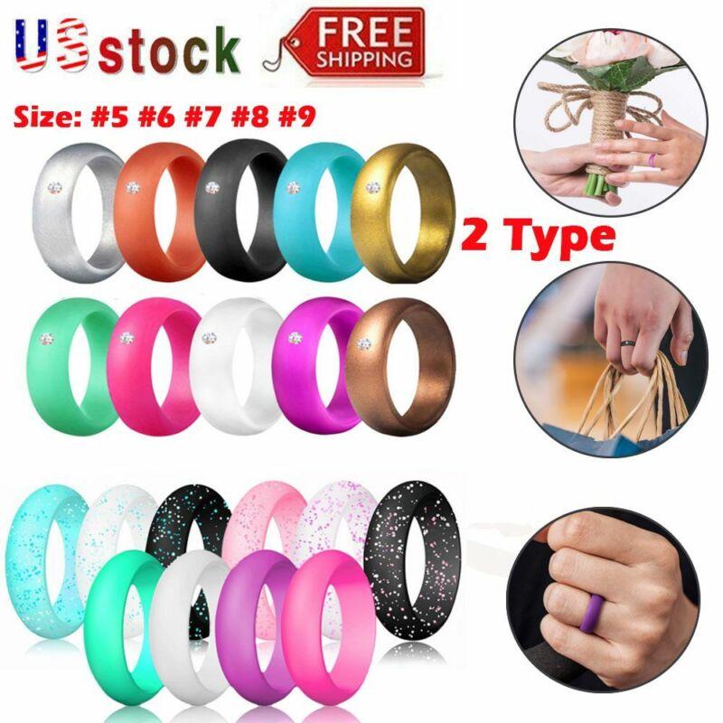 10 Pcs/set Women Silicone Wedding Ring Modern Rubber Band Durable Size 5 6 7 8 9