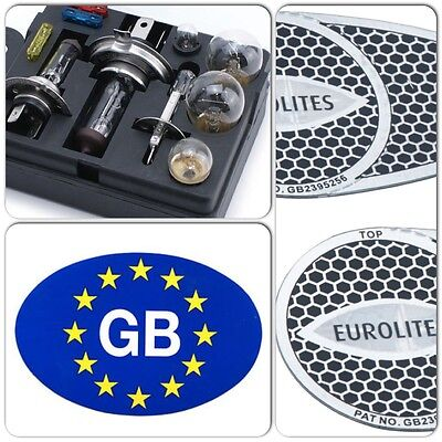 Travel Car Spare Bulb & Fuse Kit & Blue GB Sticker & Pair Eurolites Beam Benders