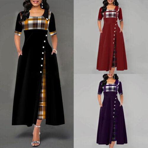 Damen Kariert Maxikleid A-Linien-Kleid Langarm Freizeit Partykleid Abendkleider