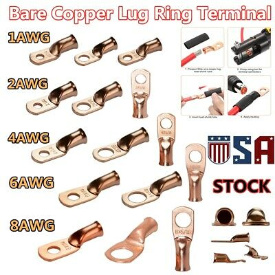 Copper Wire Ring Terminal Crimp Battery Welding Cable Lug Connectors Electrical