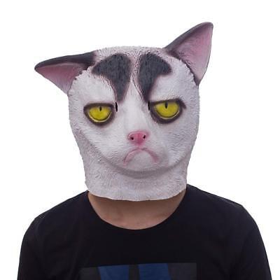 Molezu Halloween Novelty Mask Costume Party Latex Grumpy Cat Horror Head](Grumpy Cat Costume Halloween)