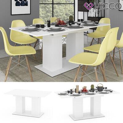 VICCO Esstisch DIX 140 - 180 cm Weiß matt Esszimmertisch ausziehbar Küche Tisch