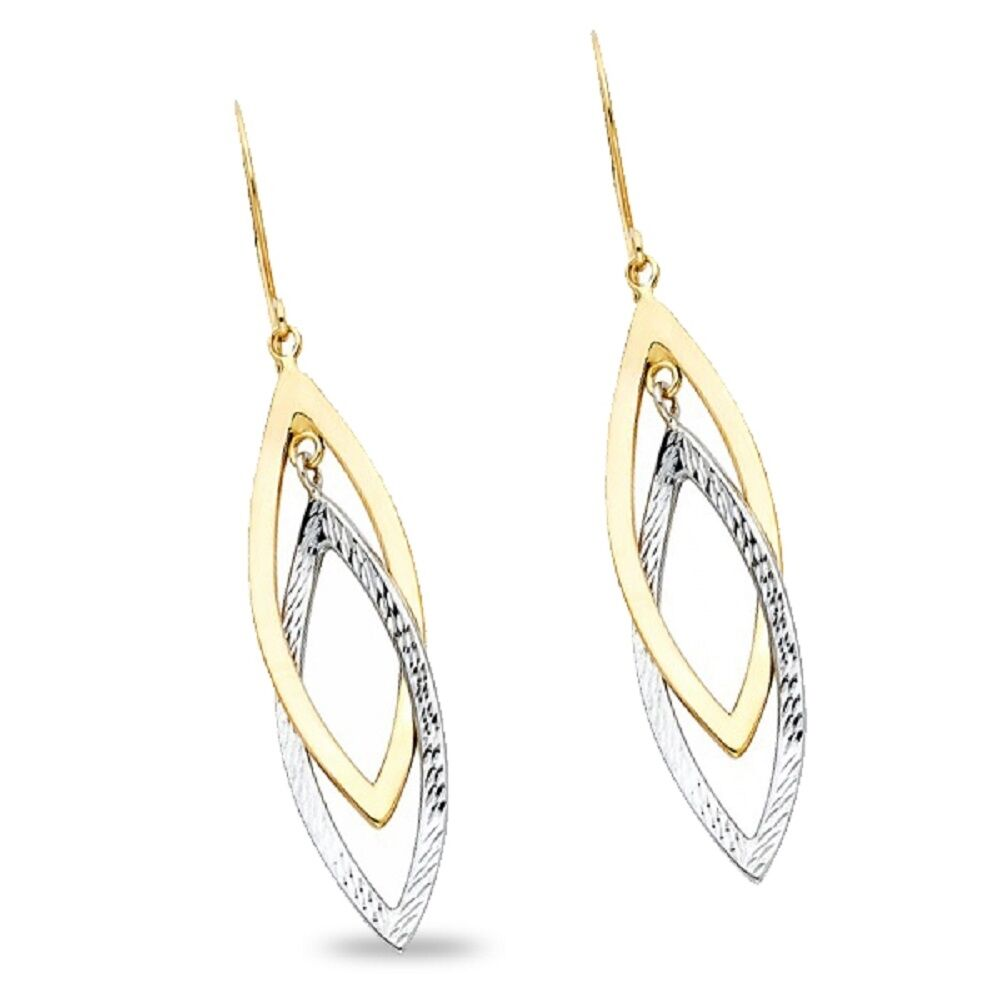 14k Yellow Gold Fancy Hollow Earrings With Lever Back, 45mm X 12mm