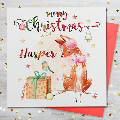 Personalised Merry Christmas Name Eve Card Family Kids Child Xmas Santa Claus  ()