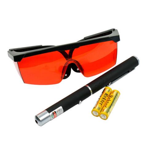 High Power 5mW Green Dot Laser Pointer + 532nm Tinted Laser Saftey Glasses