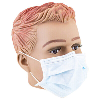 50x Einweg Mundschutz OP Hygiene Maske Gummiband 3-lagig Nasenbügel Hellblau