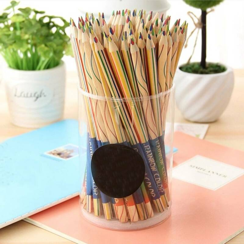 10Pcs Rainbow 4 In 1 Colored Pencil for DIY Drawing Painting Stationery Graffiti