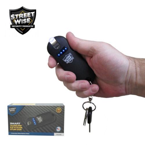 Streetwise SMART Stun Gun Flashlight 24,000,000 w/Battery Status Indicator Black